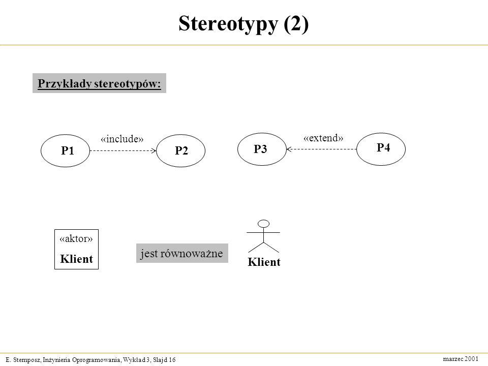 Stereotypy (2) Przykłady stereotypów: P1 P2 P3 P4 Klient