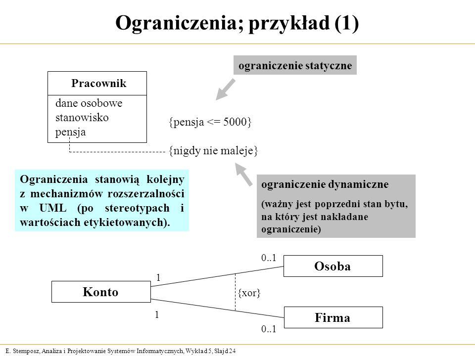 Ograniczenia; przykład (1)