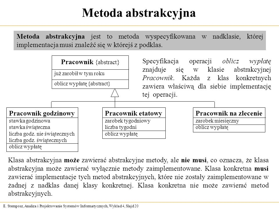 Metoda abstrakcyjna Metoda abstrakcyjna jest to metoda wyspecyfikowana w nadklasie, której implementacja musi znaleźć się w którejś z podklas.