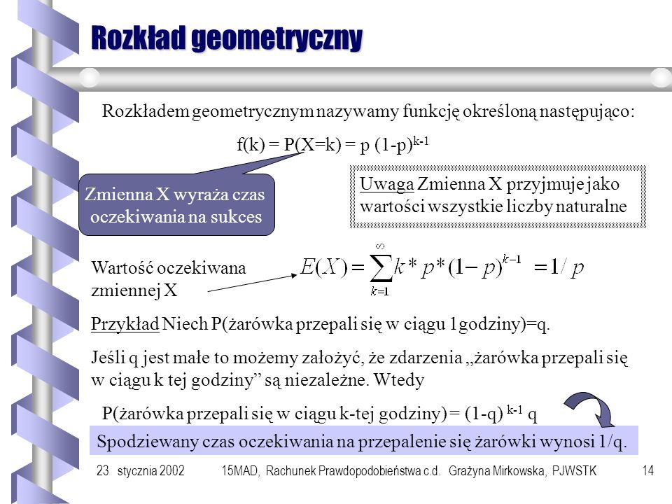 Rozkład geometryczny Rozkładem geometrycznym nazywamy funkcję określoną następująco: f(k) = P(X=k) = p (1-p)k-1.
