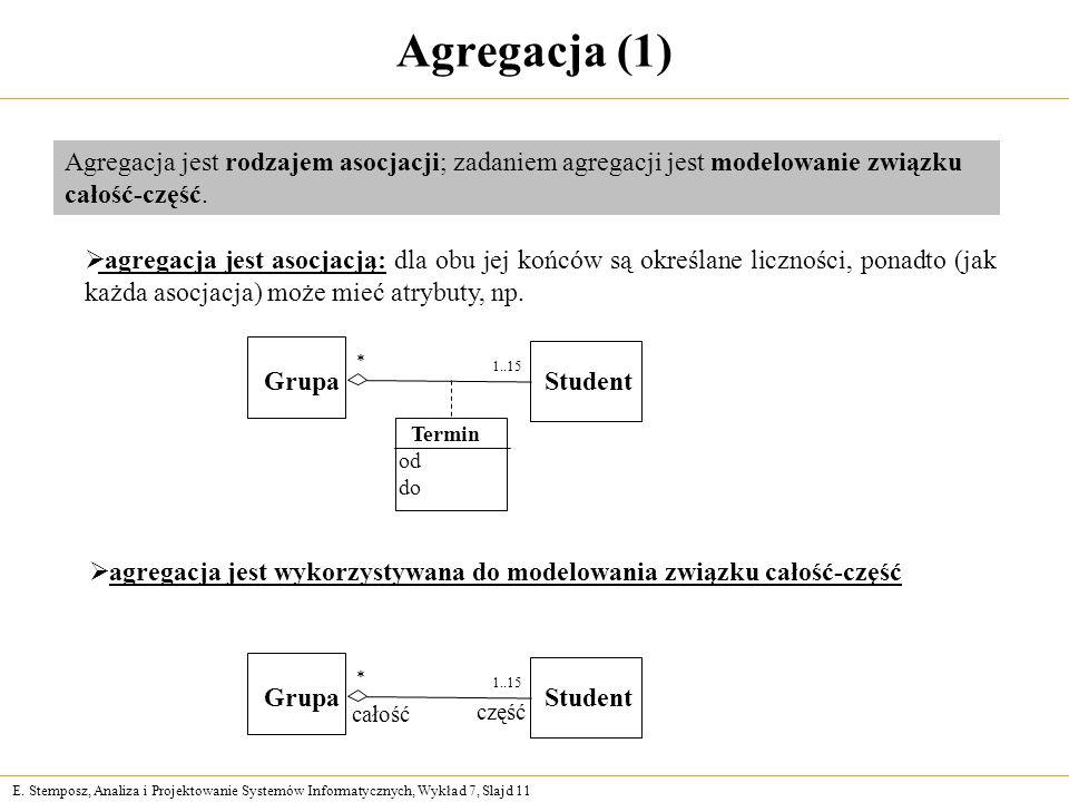 Agregacja (1) Agregacja jest rodzajem asocjacji; zadaniem agregacji jest modelowanie związku całość-część.