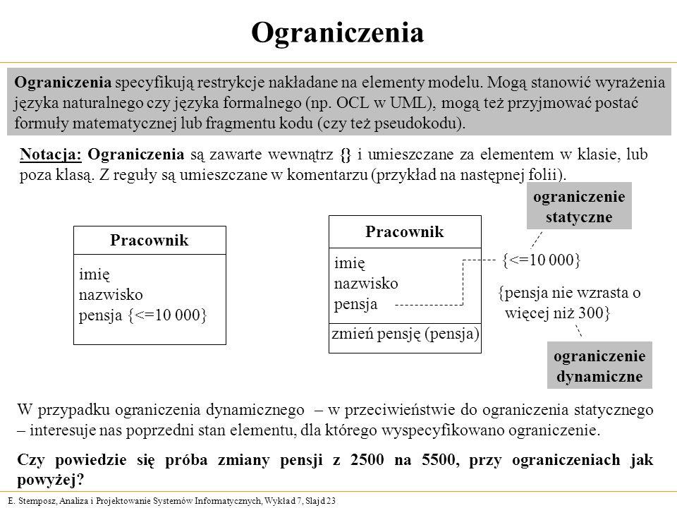 OgraniczeniaOgraniczenia specyfikują restrykcje nakładane na elementy modelu. Mogą stanowić wyrażenia.
