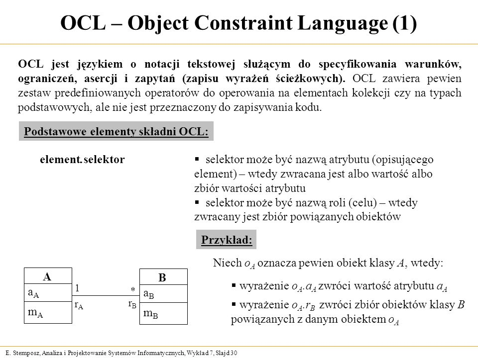 OCL – Object Constraint Language (1)