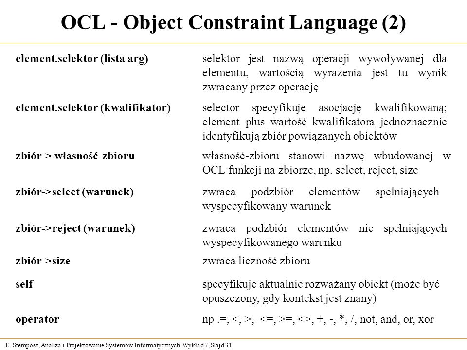 OCL - Object Constraint Language (2)