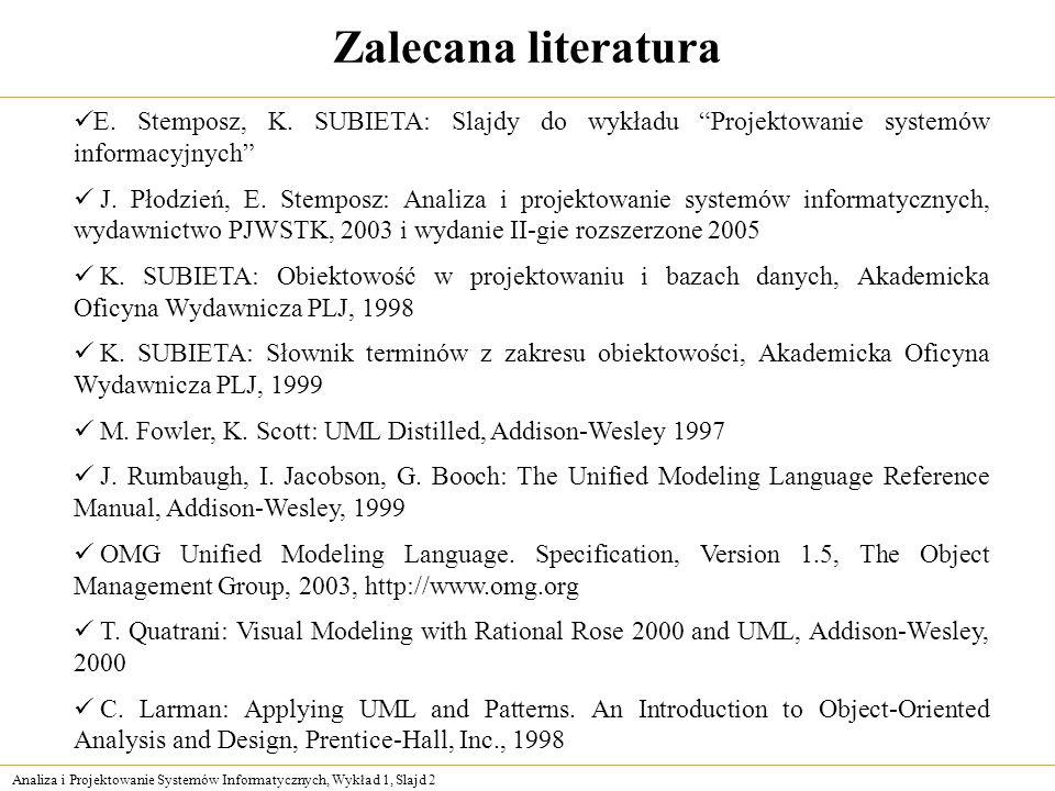 Zalecana literatura E. Stemposz, K. SUBIETA: Slajdy do wykładu Projektowanie systemów informacyjnych