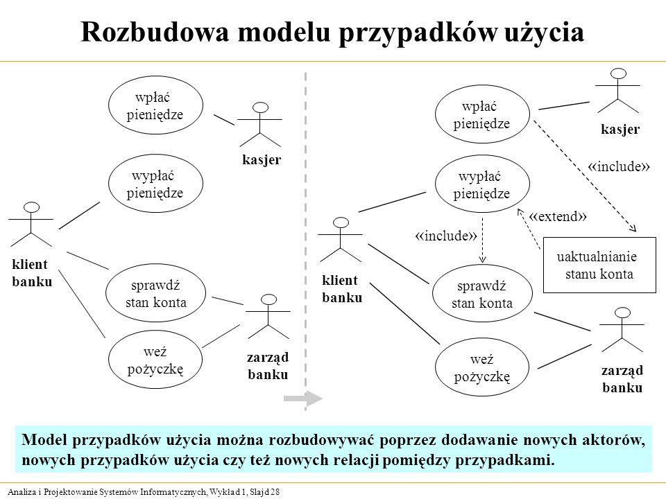 Rozbudowa modelu przypadków użycia