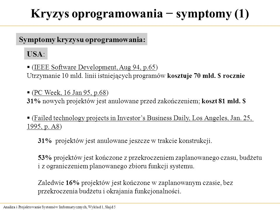 Kryzys oprogramowania − symptomy (1)