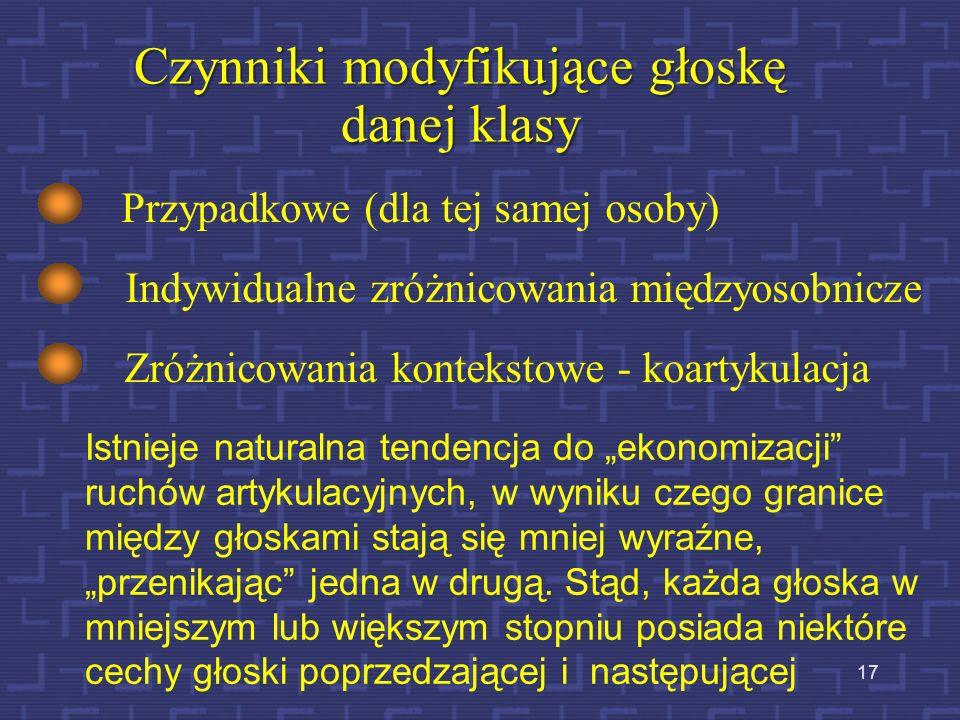 Czynniki modyfikujące głoskę danej klasy