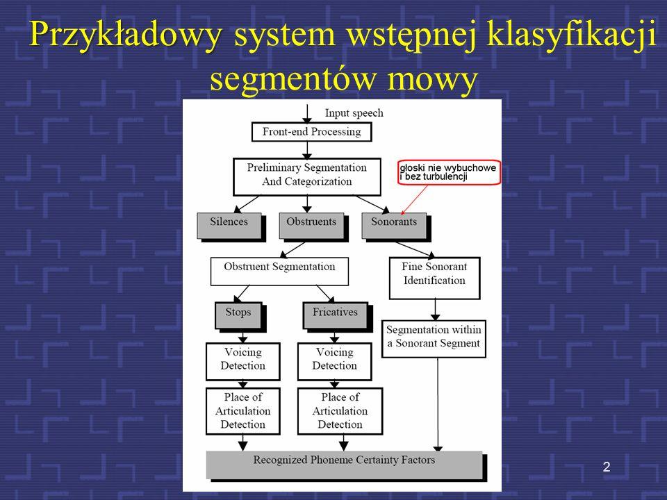 Przykładowy system wstępnej klasyfikacji segmentów mowy