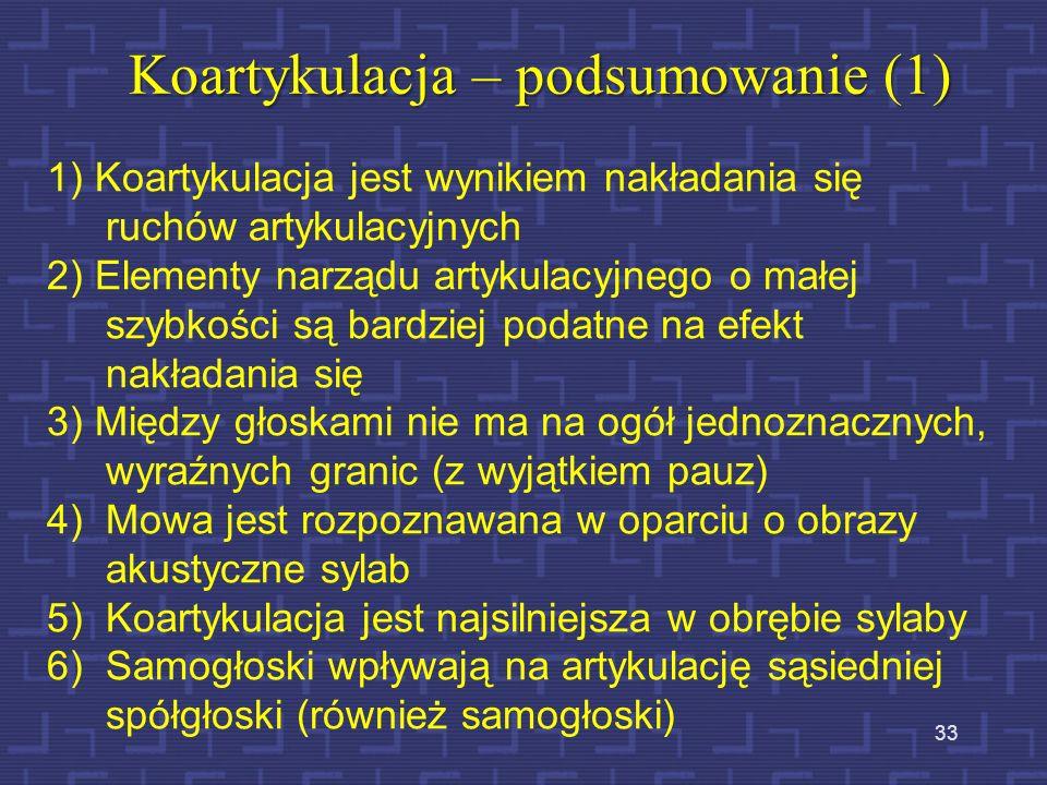 Koartykulacja – podsumowanie (1)