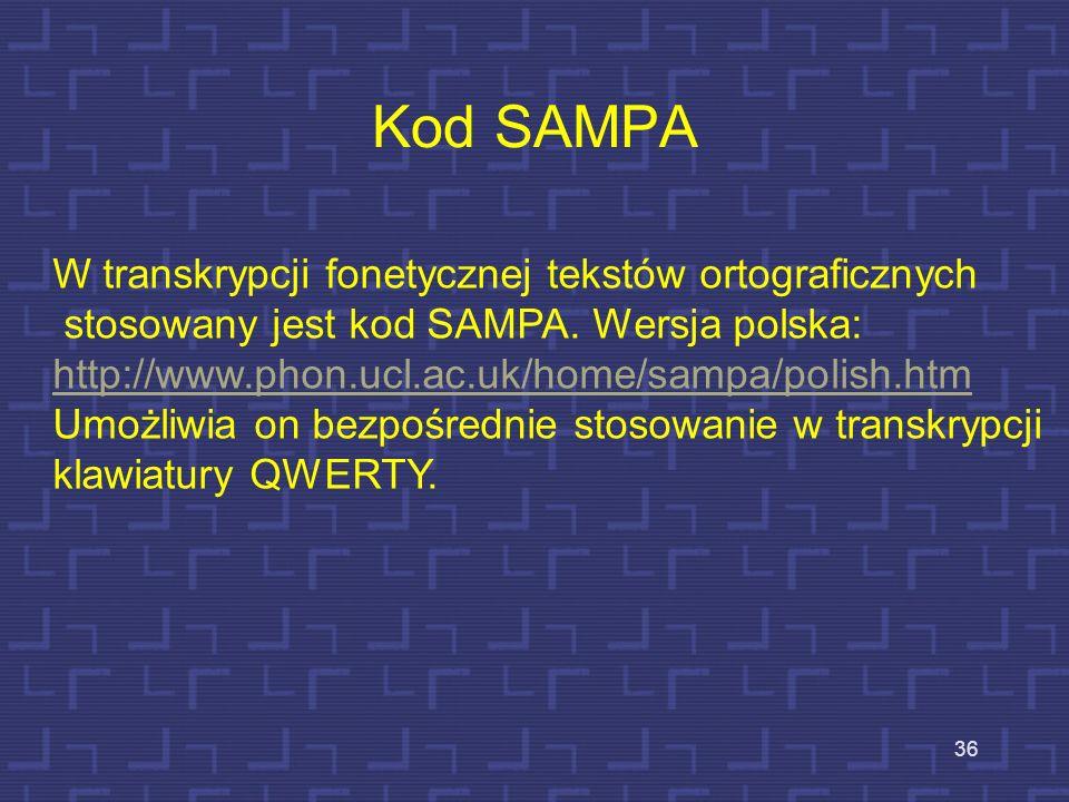 Kod SAMPA W transkrypcji fonetycznej tekstów ortograficznych