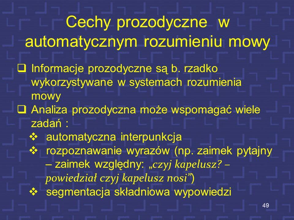 Cechy prozodyczne w automatycznym rozumieniu mowy
