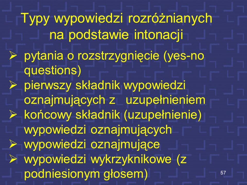 Typy wypowiedzi rozróżnianych na podstawie intonacji