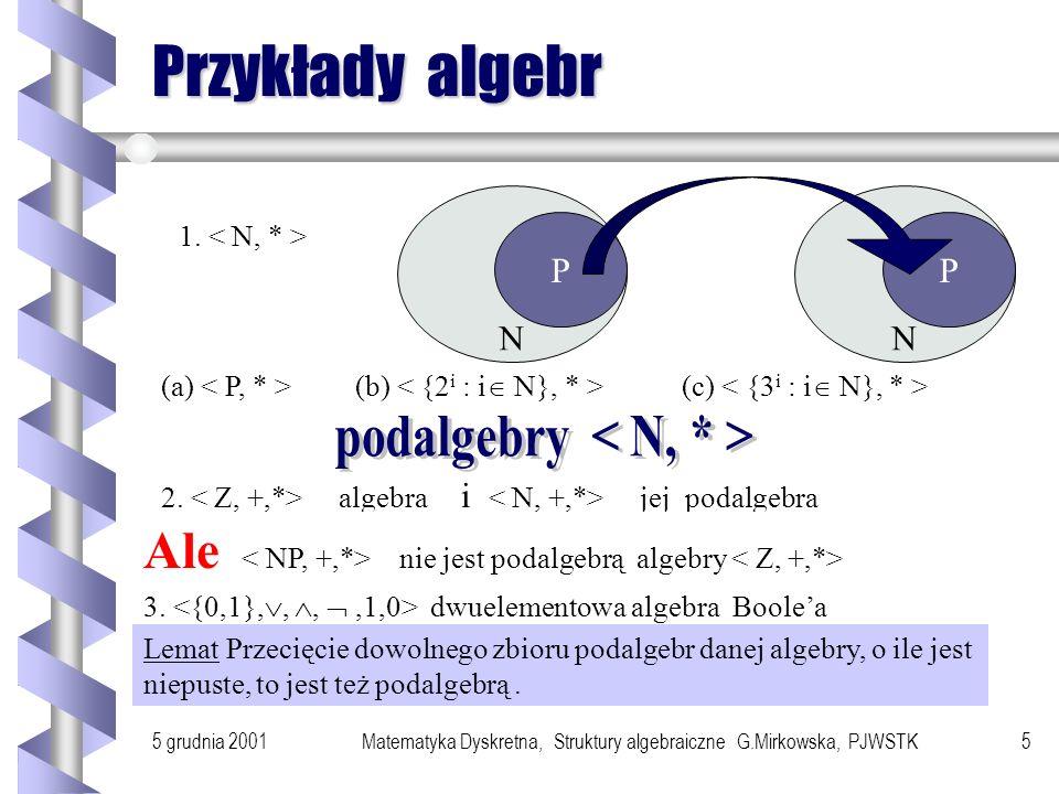 podalgebry < N, * >