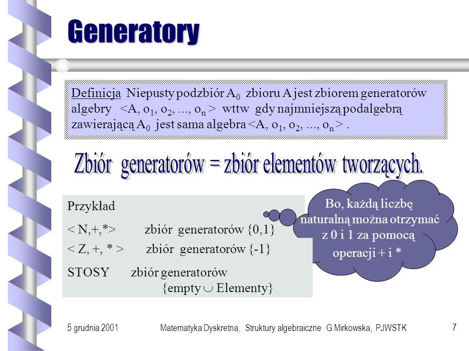 Generatory Zbiór generatorów = zbiór elementów tworzących.