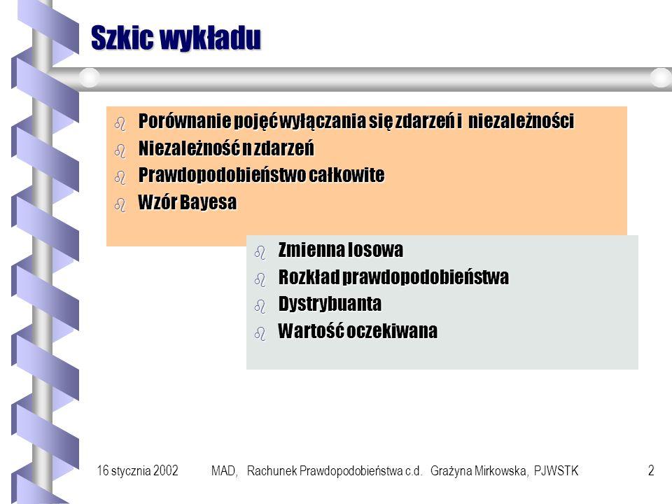 MAD, Rachunek Prawdopodobieństwa c.d. Grażyna Mirkowska, PJWSTK
