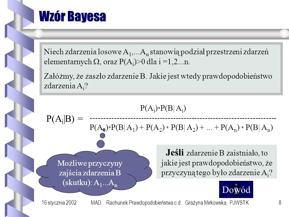 Wzór Bayesa Niech zdarzenia losowe A1,...An stanowią podział przestrzeni zdarzeń elementarnych W, oraz P(Ai)>0 dla i =1,2...n.
