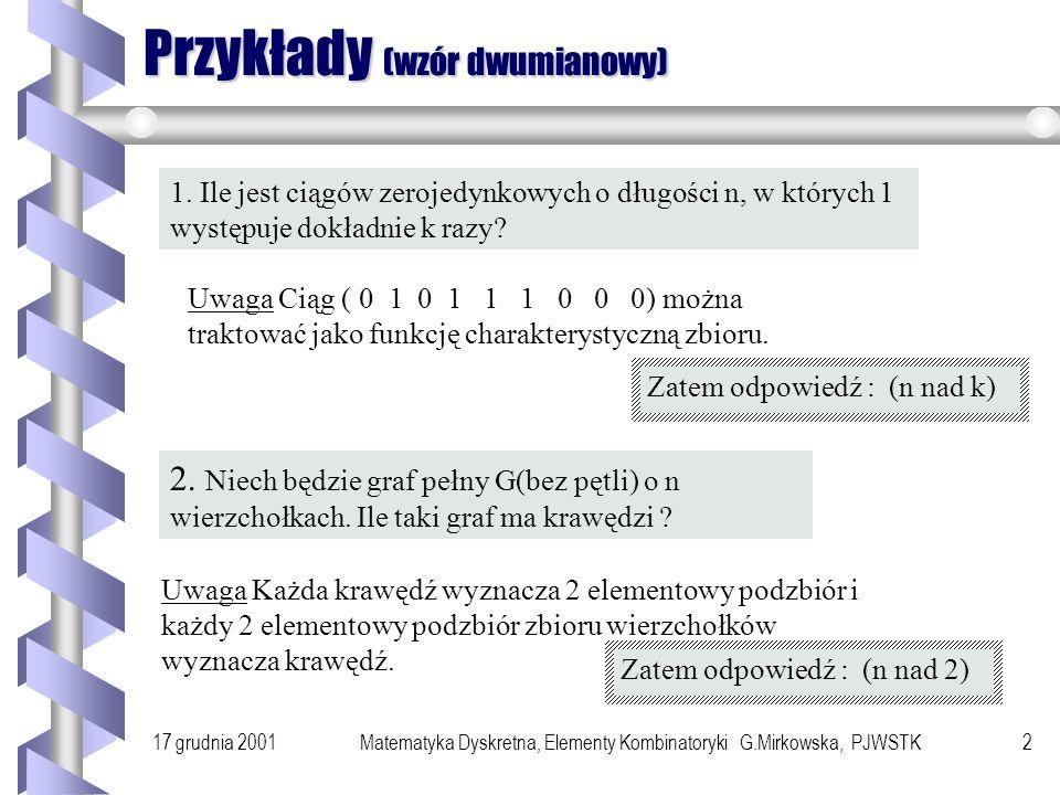 Przykłady (wzór dwumianowy)