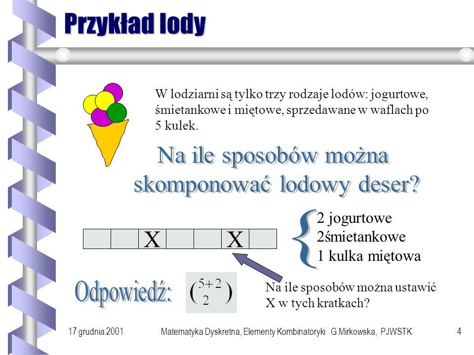 Przykład lody Na ile sposobów można skomponować lodowy deser { X