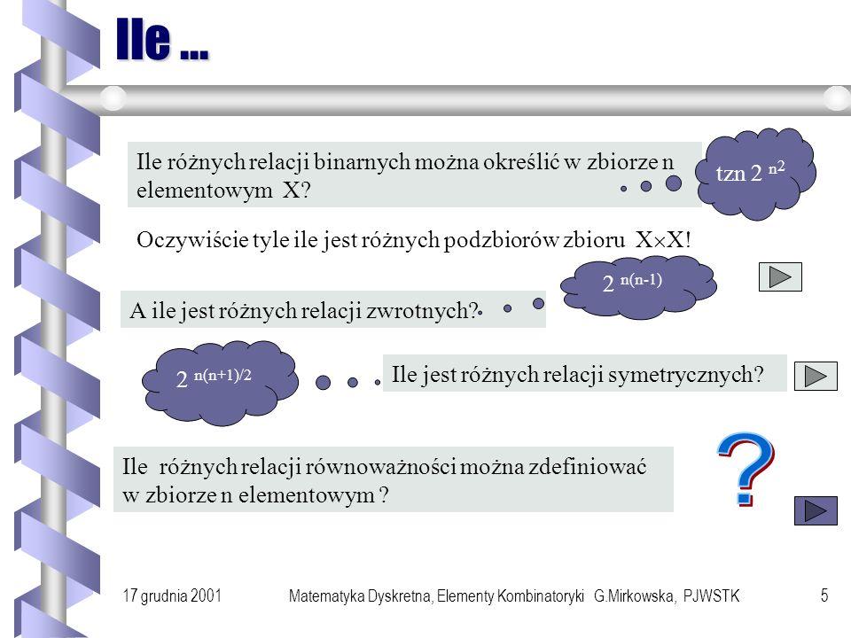 Matematyka Dyskretna, Elementy Kombinatoryki G.Mirkowska, PJWSTK