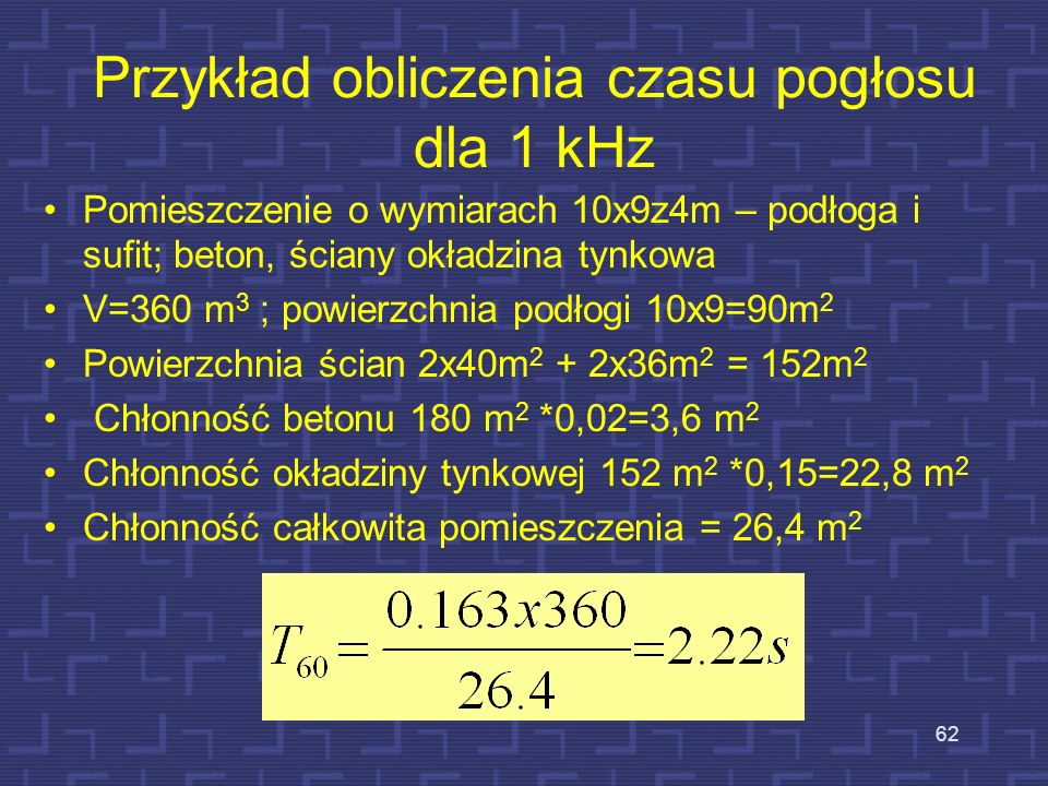 Przykład obliczenia czasu pogłosu dla 1 kHz