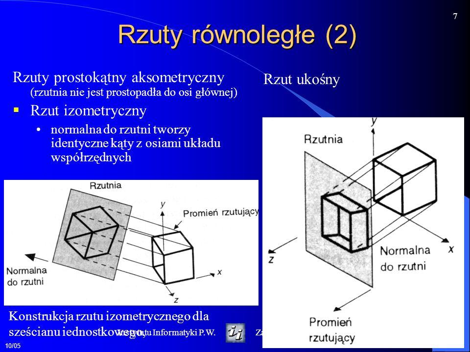 Rzuty równoległe (2) Rzuty prostokątny aksometryczny (rzutnia nie jest prostopadła do osi głównej) Rzut izometryczny.