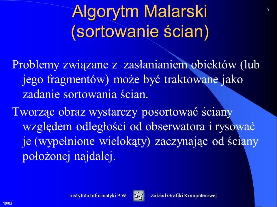 Algorytm Malarski (sortowanie ścian)
