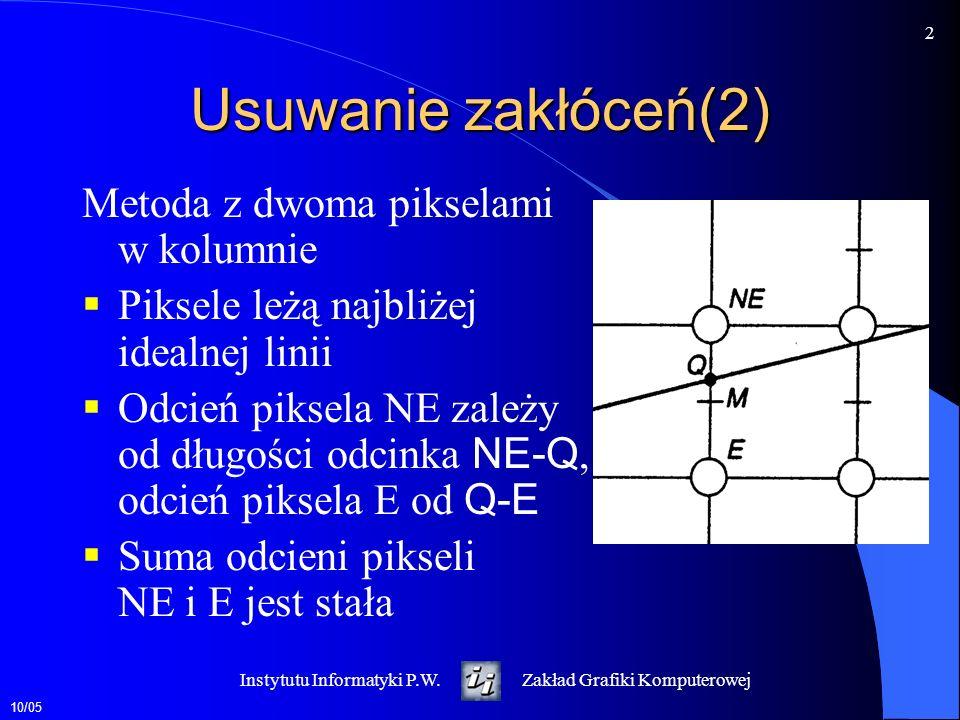 Usuwanie zakłóceń(2) Metoda z dwoma pikselami w kolumnie