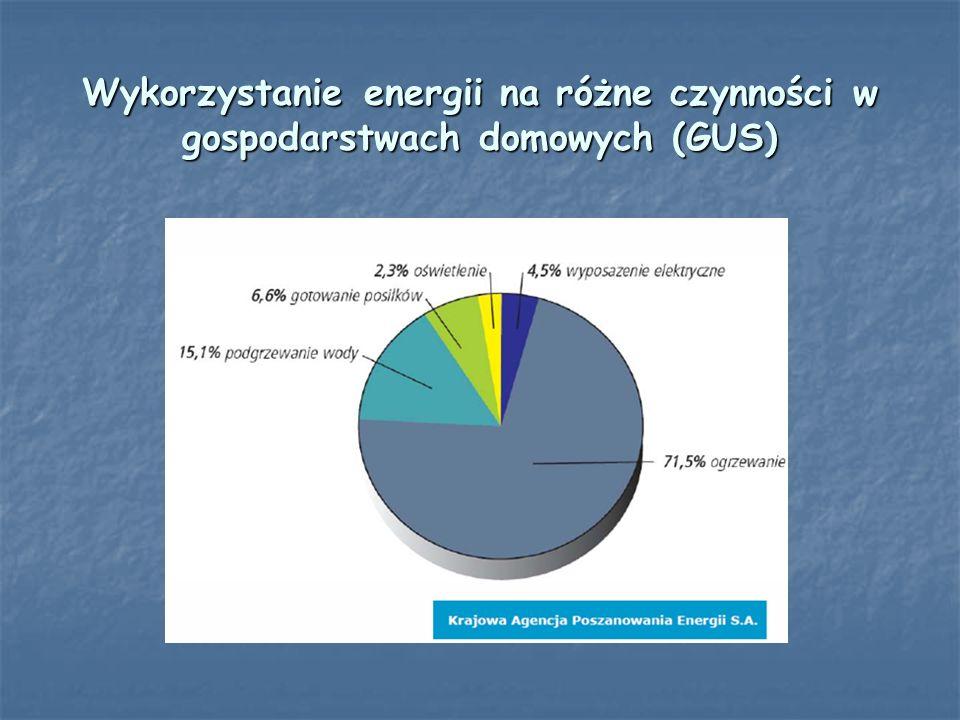 Wykorzystanie energii na różne czynności w gospodarstwach domowych (GUS)