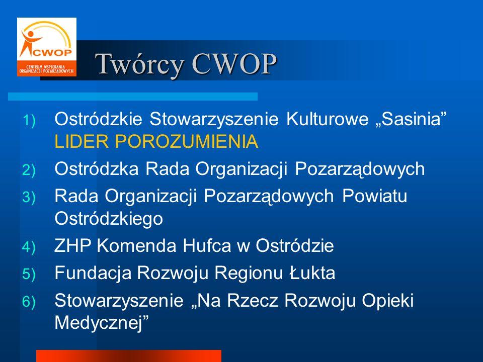 """Twórcy CWOP Ostródzkie Stowarzyszenie Kulturowe """"Sasinia LIDER POROZUMIENIA. Ostródzka Rada Organizacji Pozarządowych."""