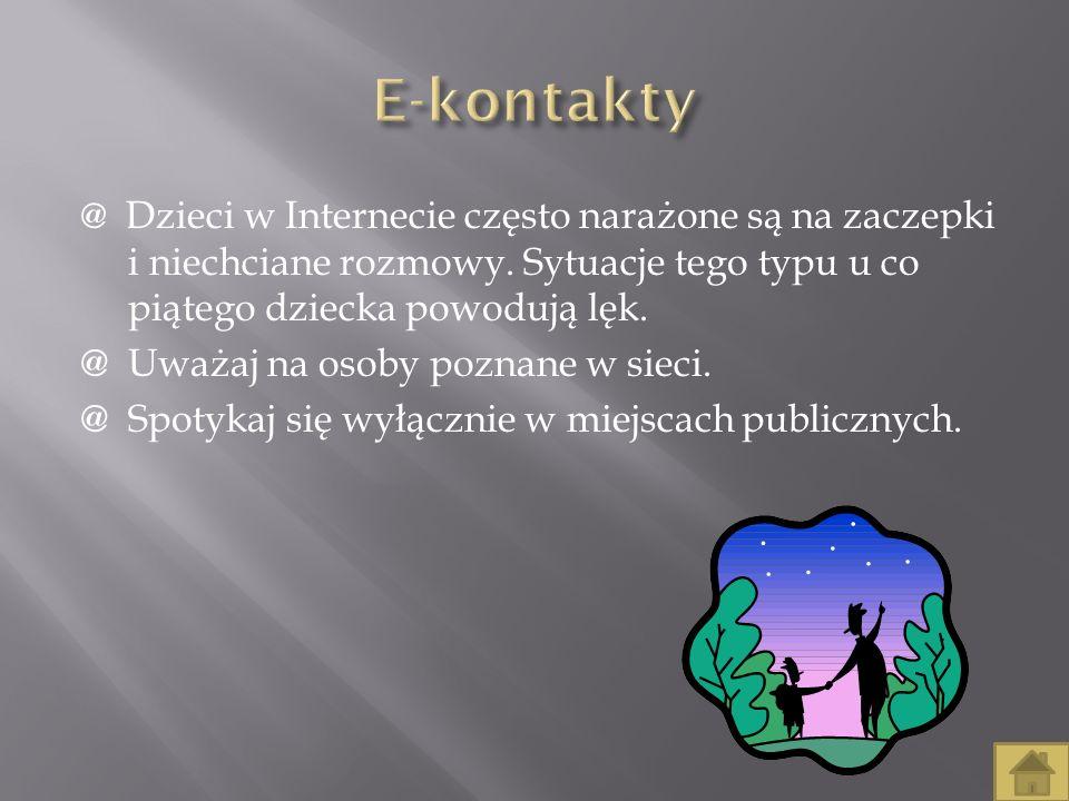 E-kontakty @ Uważaj na osoby poznane w sieci.