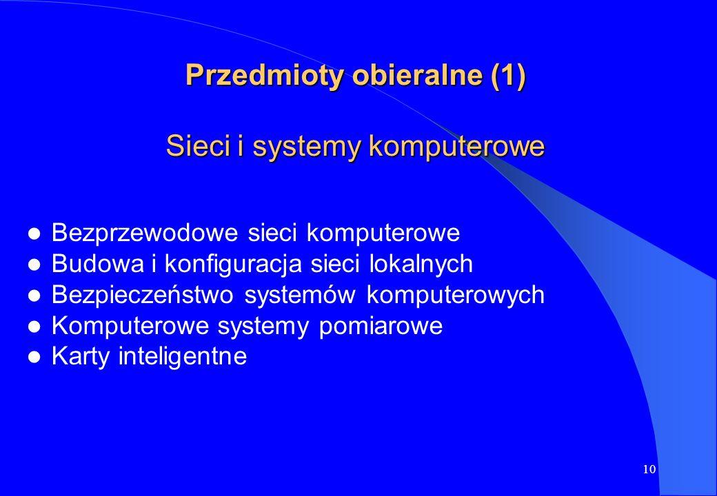 Przedmioty obieralne (1) Sieci i systemy komputerowe
