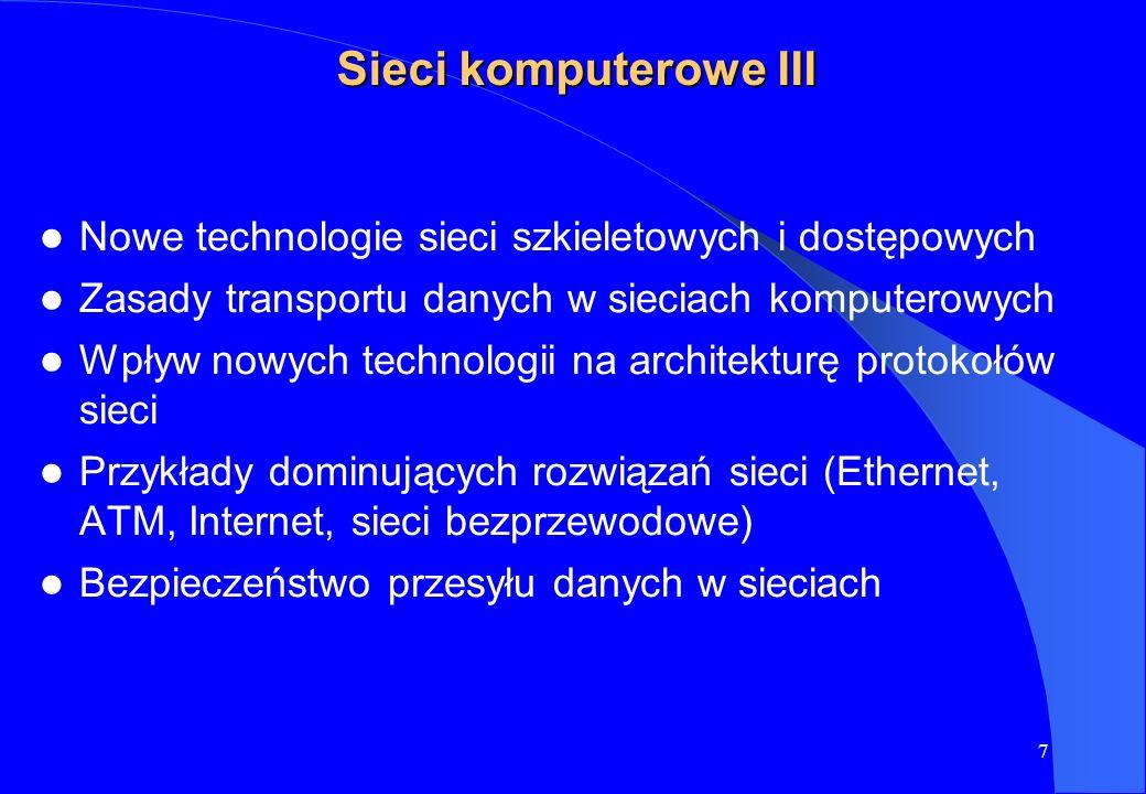 Sieci komputerowe IIINowe technologie sieci szkieletowych i dostępowych. Zasady transportu danych w sieciach komputerowych.