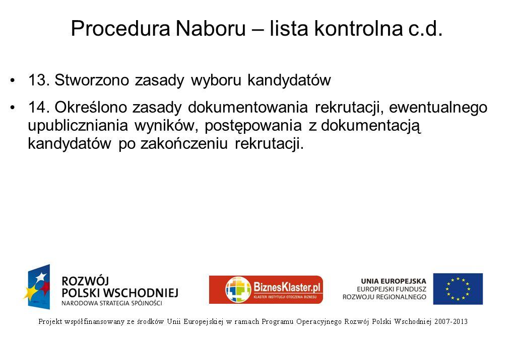 Procedura Naboru – lista kontrolna c.d.