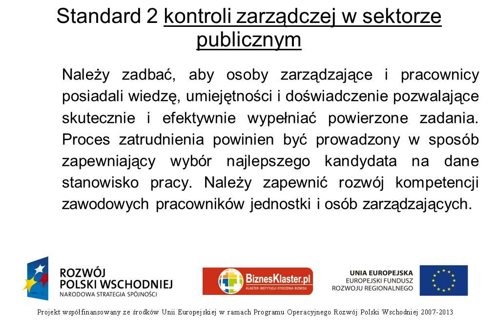 Standard 2 kontroli zarządczej w sektorze publicznym