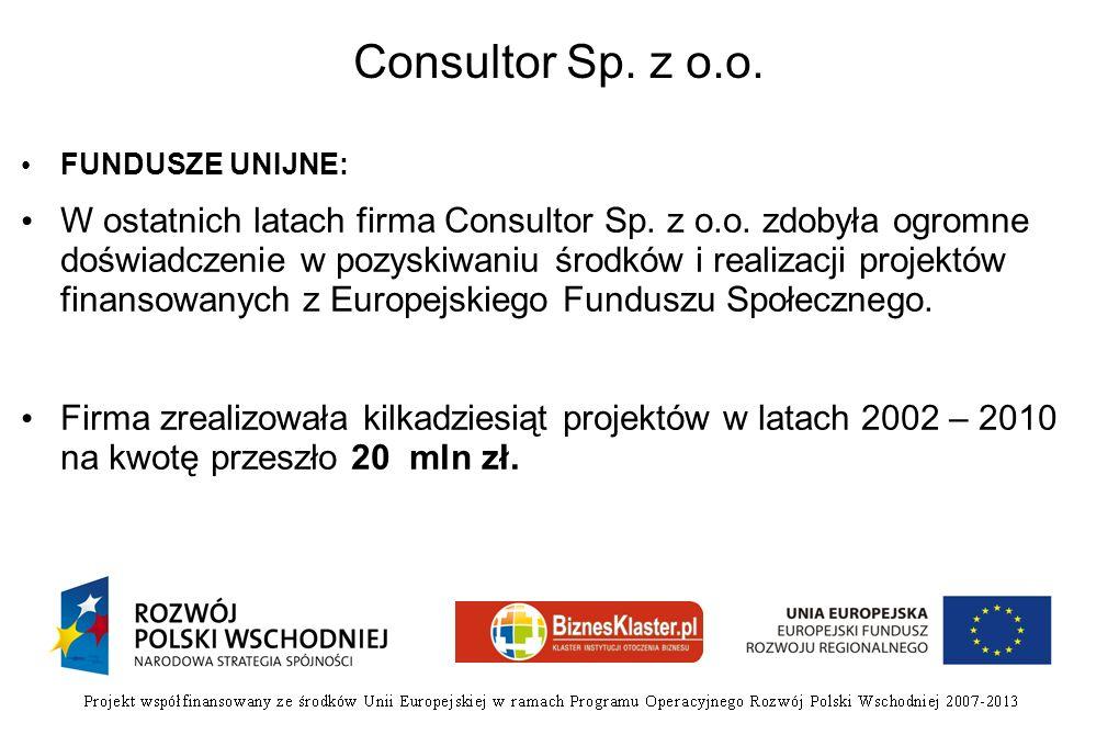 Consultor Sp. z o.o. FUNDUSZE UNIJNE: