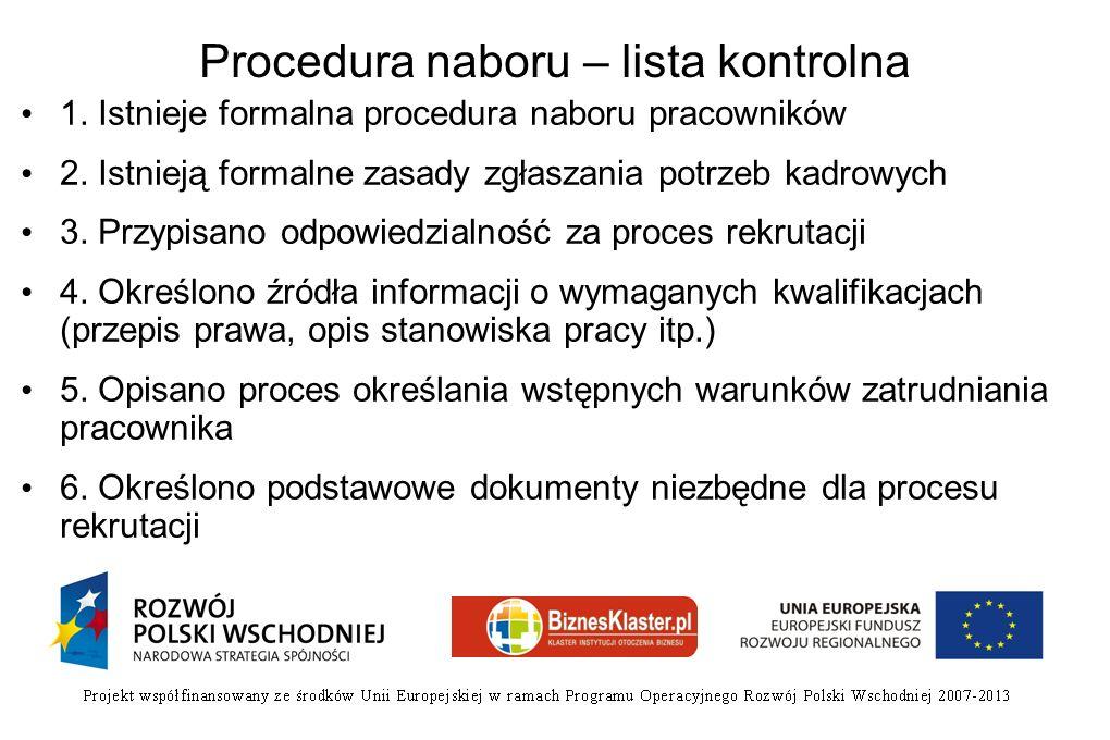 Procedura naboru – lista kontrolna