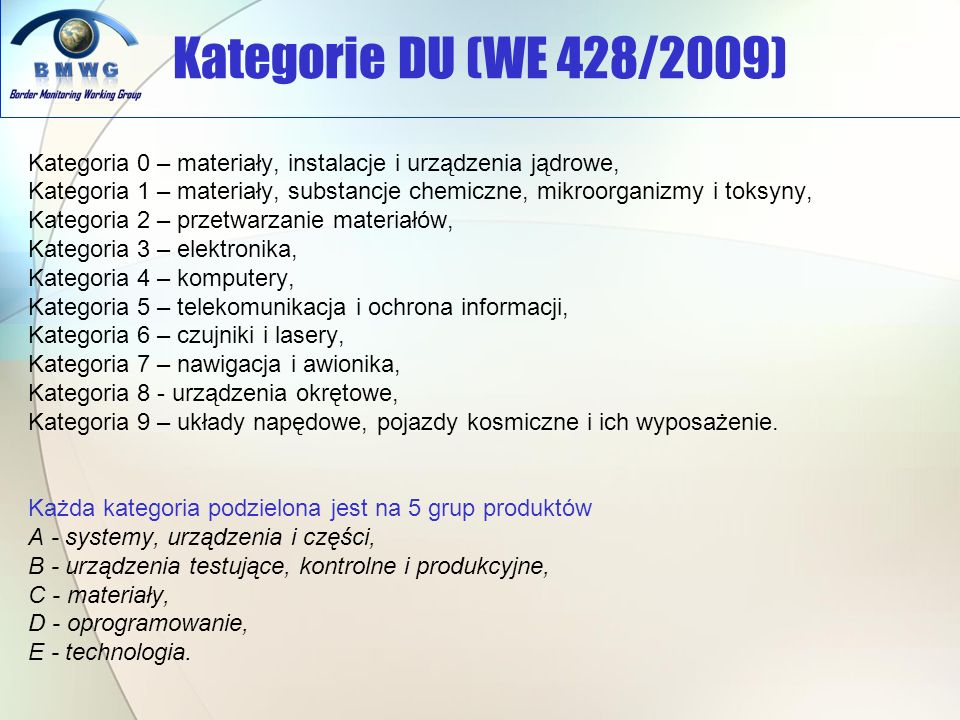 Kategorie DU (WE 428/2009) Kategoria 0 – materiały, instalacje i urządzenia jądrowe,