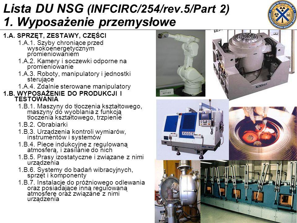 Lista DU NSG (INFCIRC/254/rev.5/Part 2) 1. Wyposażenie przemysłowe