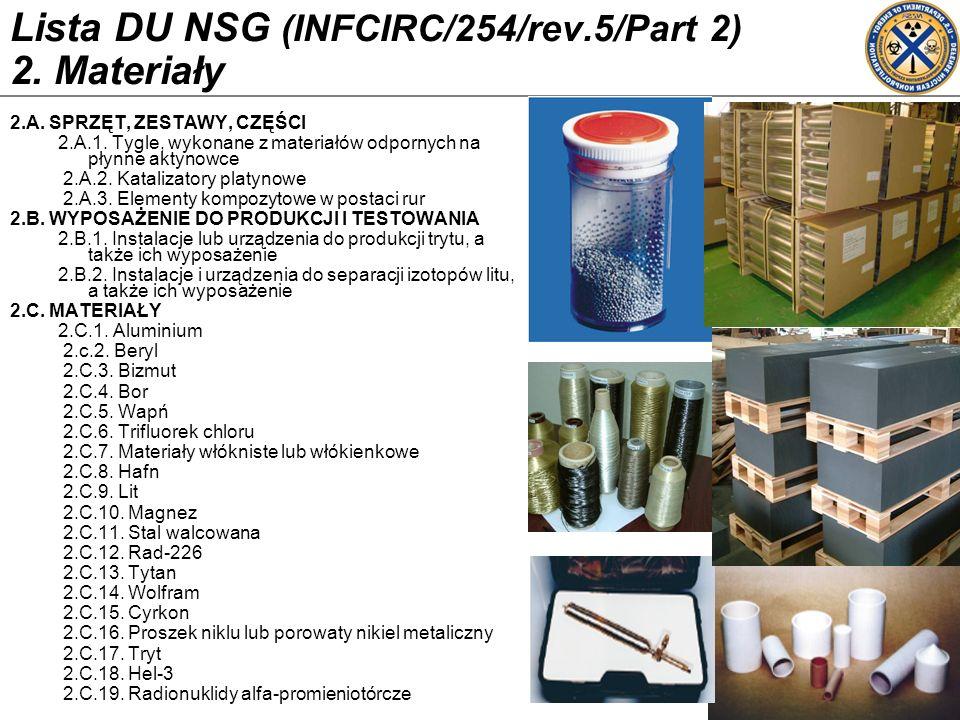 Lista DU NSG (INFCIRC/254/rev.5/Part 2) 2. Materiały