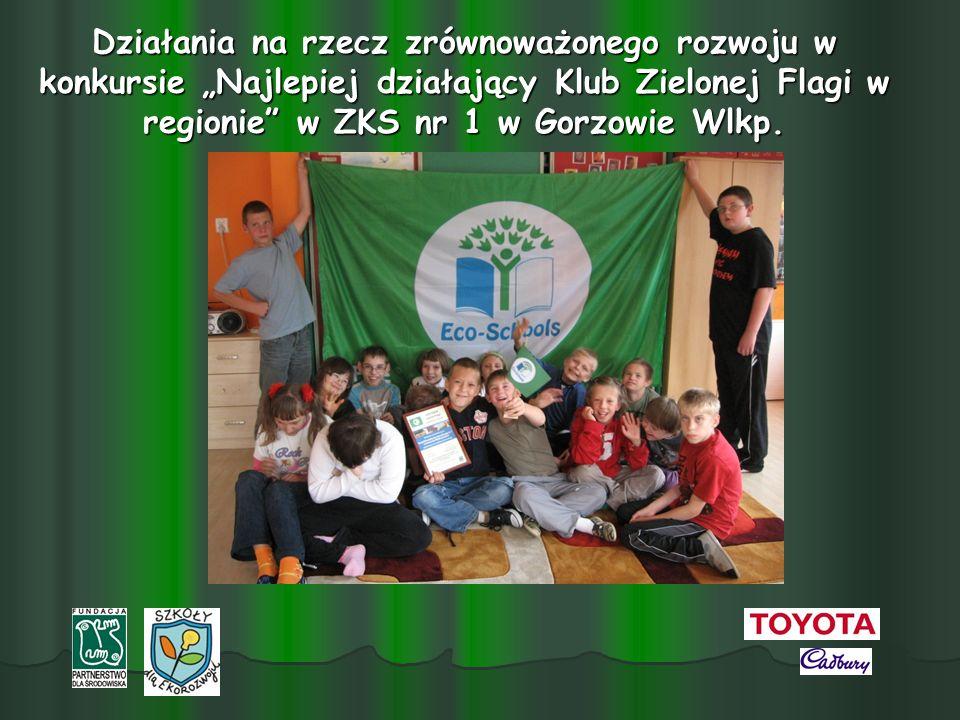 """Działania na rzecz zrównoważonego rozwoju w konkursie """"Najlepiej działający Klub Zielonej Flagi w regionie w ZKS nr 1 w Gorzowie Wlkp."""