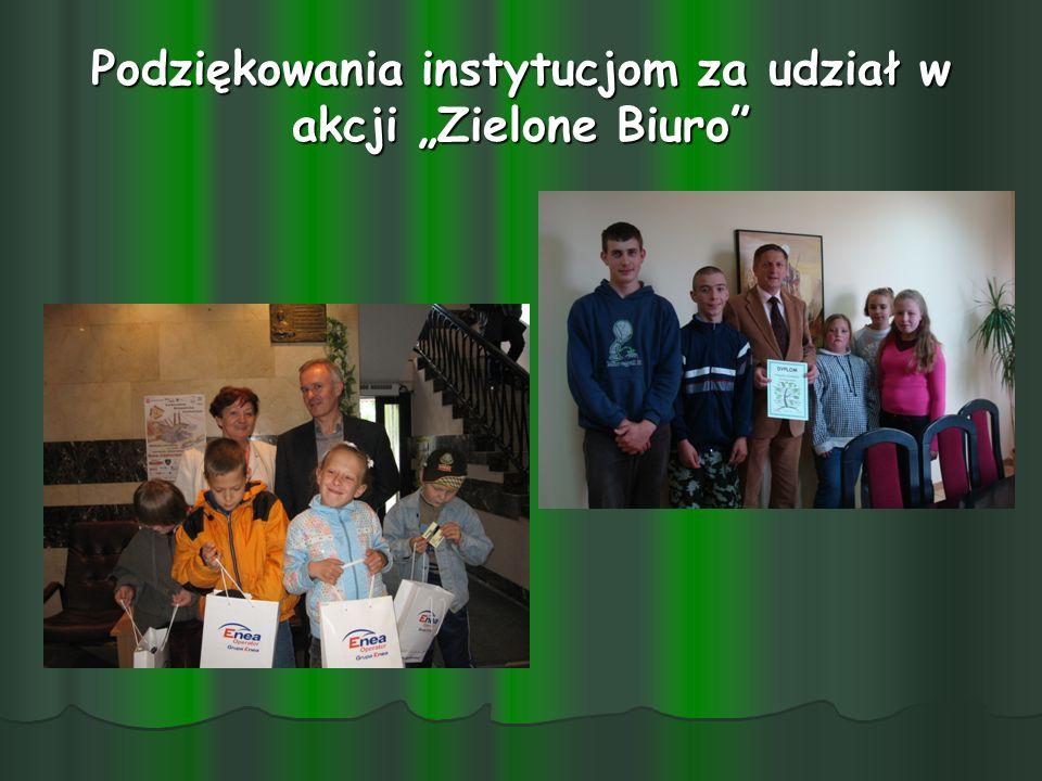 """Podziękowania instytucjom za udział w akcji """"Zielone Biuro"""