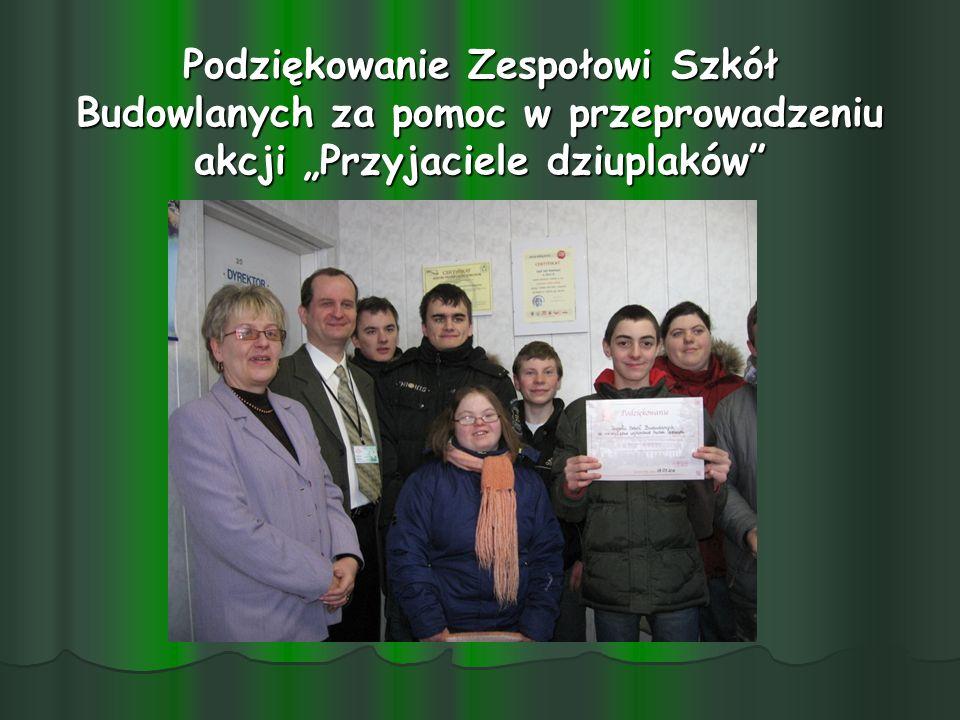 """Podziękowanie Zespołowi Szkół Budowlanych za pomoc w przeprowadzeniu akcji """"Przyjaciele dziuplaków"""