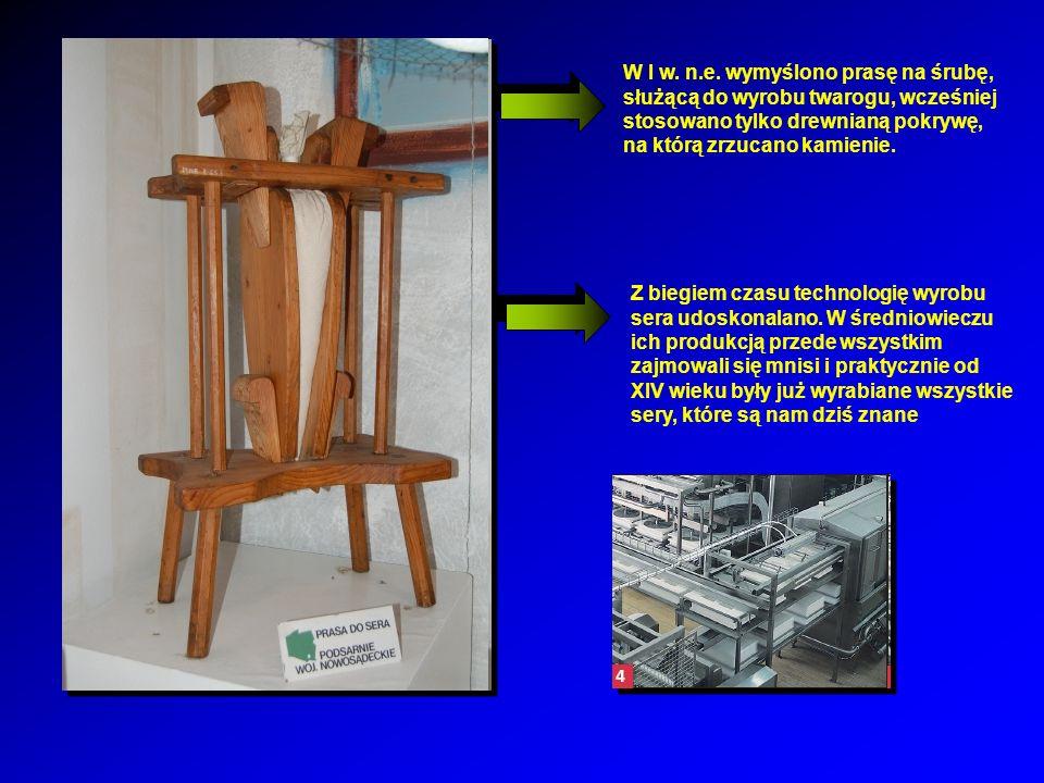 W I w. n.e. wymyślono prasę na śrubę, służącą do wyrobu twarogu, wcześniej stosowano tylko drewnianą pokrywę, na którą zrzucano kamienie.