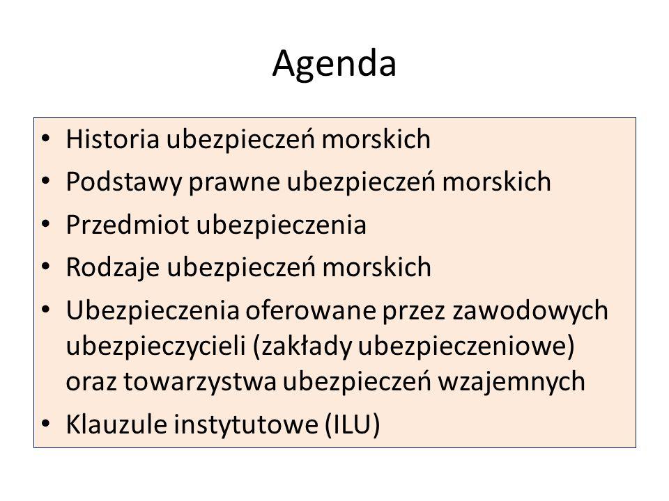Agenda Historia ubezpieczeń morskich