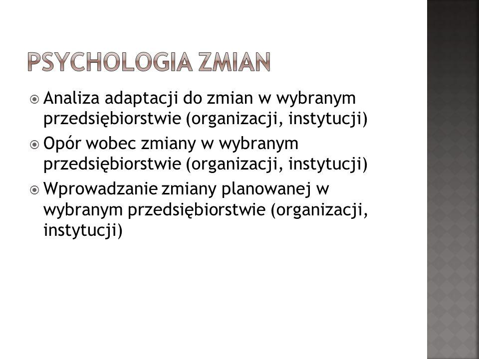Psychologia zmian Analiza adaptacji do zmian w wybranym przedsiębiorstwie (organizacji, instytucji)