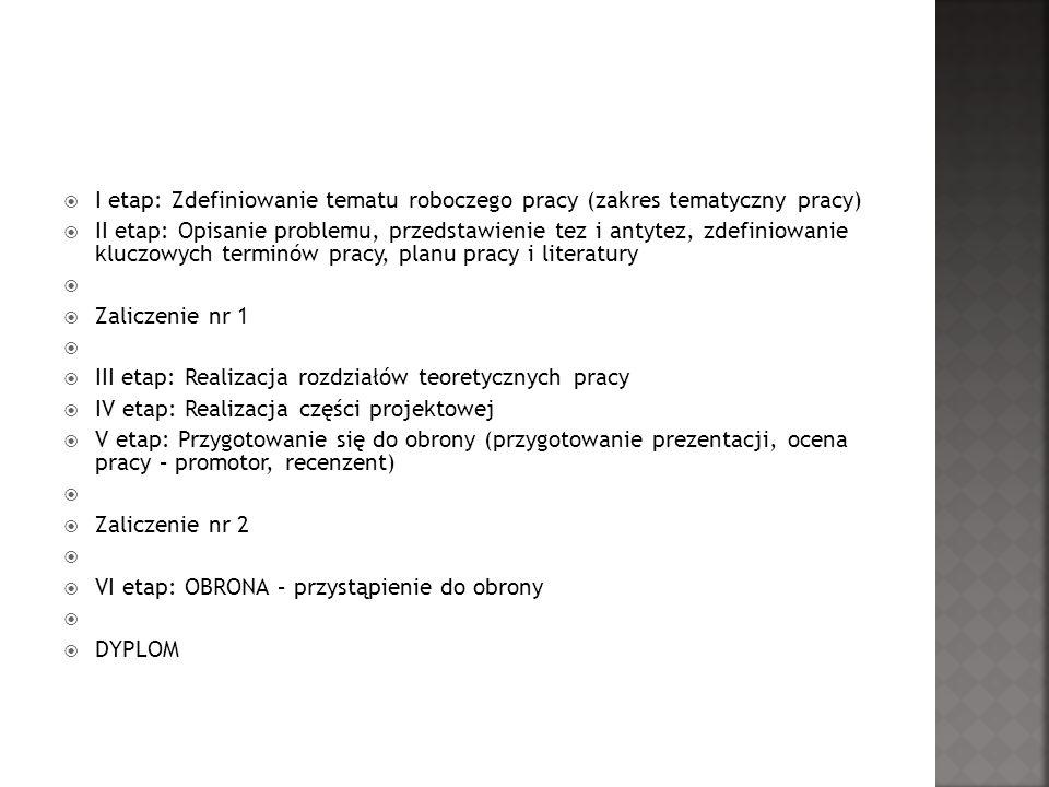 I etap: Zdefiniowanie tematu roboczego pracy (zakres tematyczny pracy)