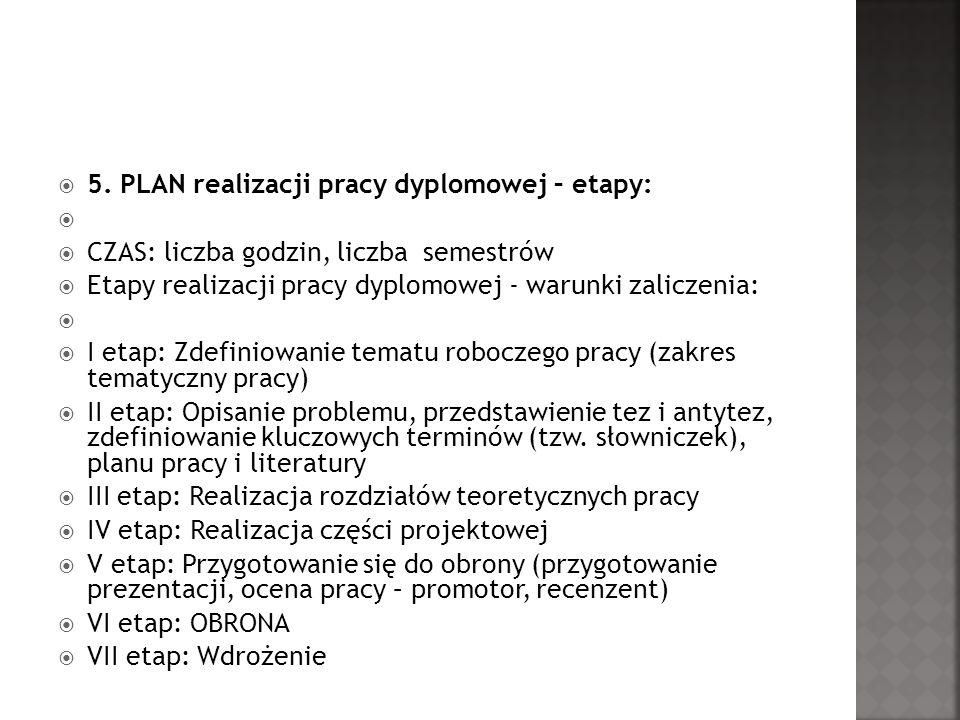 5. PLAN realizacji pracy dyplomowej – etapy: