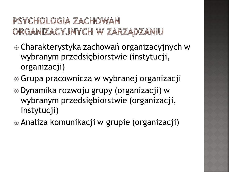 Psychologia zachowań organizacyjnych w zarządzaniu