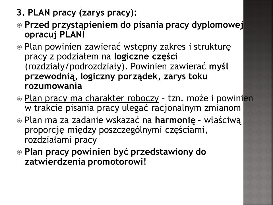3. PLAN pracy (zarys pracy):